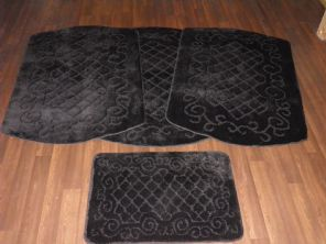 GYPSY WASHABLES TRAVELLERS MATS SETS 4PCS NON SLIP NEW DESIGNS SUPER THICK BLACK